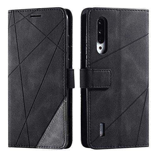 Hülle für Xiaomi MI 9 Lite, SONWO Premium Leder PU Handyhülle Flip Hülle Wallet Silikon Bumper Schutzhülle Klapphülle für Xiaomi MI 9 Lite, Schwarz