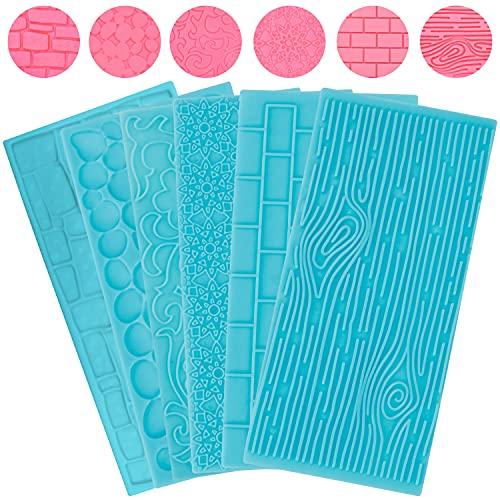 Kurtzy Set di Stampi in Plastica Goffrati per Cioccolato (Confezione da 6) - Mattoni, Legno, Fiori, Ciottoli e Pietre - Set per Decorazioni Torte in 3D per Pasta di Zucchero, Glassa per Biscotti