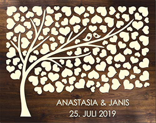 Manschin Laserdesign Personalisiertes 3D Gästebuch aus echtem Holz mit 124 Herzen - Baum - Gästebuch Alternative - (Hintergrundfarbe Eiche Dunkel, 75 x 60 cm)