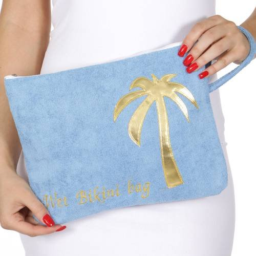Knitting Factory Water Proof Cotton Towel Wet Bikini Bag Palm Tree Selection (Palm tree-Blue)