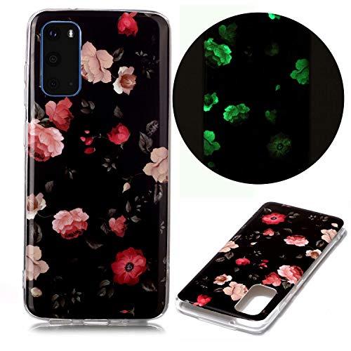 Miagon Leuchtend Luminous Hülle für Samsung Galaxy S20,Fluoreszierend Licht im Dunkeln Handyhülle Silikon Case Handytasche Stoßfest Schutzhülle,Rosa Blume