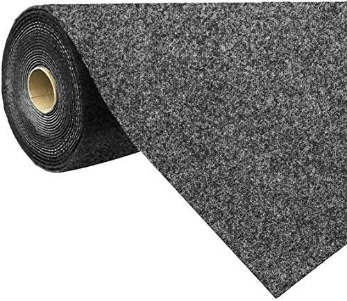 havatex Rasenteppich Kunstrasen mit Noppen 1.550 g/m² - Rot Blau Grau Braun Beige oder Anthrazit | Meterware | wasserdurchlässig | Balkon Terrasse Camping, Farbe:Anthrazit, Größe:200 x 400 cm
