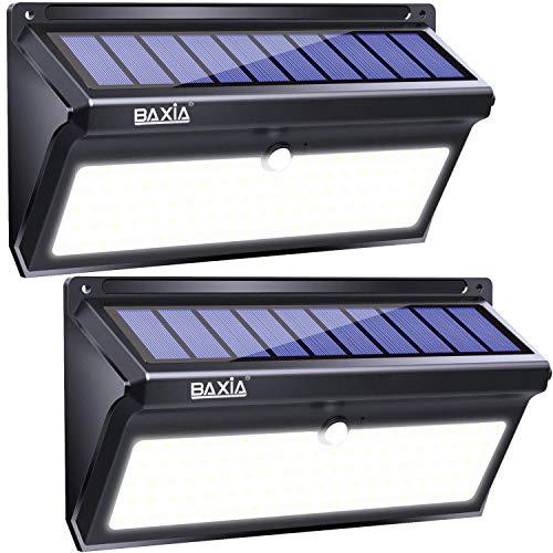 BAXIA TECHNOLOGY 100 LED-Solarleuchten, Solar-Bewegungsmelder mit Weitwinkel, verbesserte wasserdichte superhelle Sicherheits-Wandleuchten für den Außenbereich, Garten, Haustür, Hof, Zaun [2 Pack]