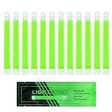 "MediTac Green Glow Sticks - Premium Bright 6"" Snap & Light Sticks - 12 Hour (12 Pack)"