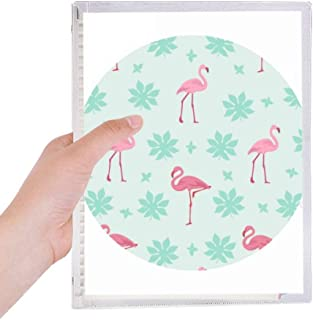 Flamingo Pattern Pink Green Notebook Loose Leaf Diary Refillable Journal Stationery