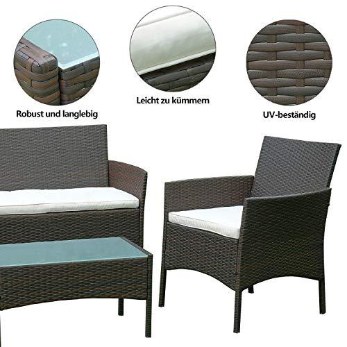 Hengda Polyrattan Lounge Sitzgruppe für 4 Personen inkl. Sitzpolster und Tisch, Braun, Komfortabel Gartenmöbel Terrassenmöbel für Balkon, Garten, Terrasse - 4