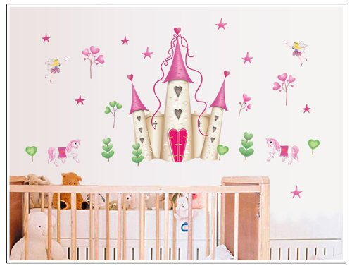 Wall Stickers Art Large Princess Fairy Castle Wall Stickers Wall Decals Kids Bedroom Nursery by Fashion Wall Art