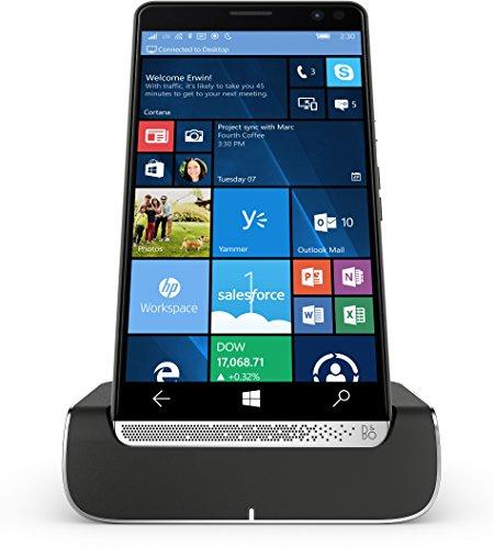 HP Elite x3 (Y1M46EA) Smartphone (15,14 cm (5,96 Zoll) Amoled WQHD Touchdisplay, 64 GB, Dual Sim, Windows 10 Mobile) inkl. Headset & Docking Station, schwarz / silber