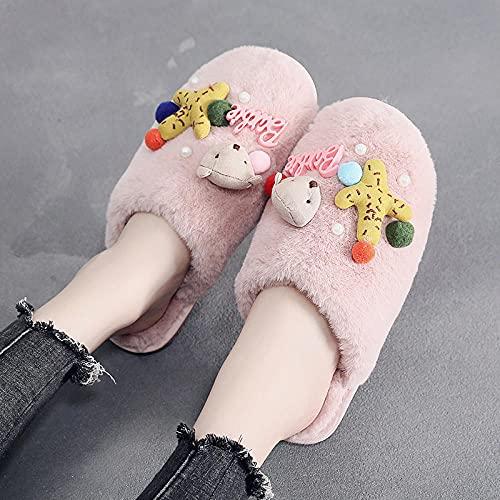 Zapatillas De Casa para Mujer Primavera,Zapatillas De AlgodóN para Mujer, Bonita Bolsa De Felpa Interior para El Hogar Y Zapatillas En OtoñO E Invierno, Zapatillas De Dibujos Animados Antideslizantes
