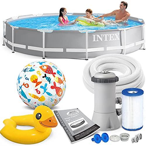 INTEX 366x76 cm Prism Metal Frame Swimming Pool Schwimmbecken 26712 Komplett-Set mit Extra-Zubehör wie: Strandball und Schwimmring