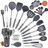 Juego de utensilios de cocina de silicona, 35 piezas de utensilios de cocina de silicona, antiadherentes, resistentes al calor, sin BPA, con mango de acero inoxidable, juego de utensilios de cocina (gris)