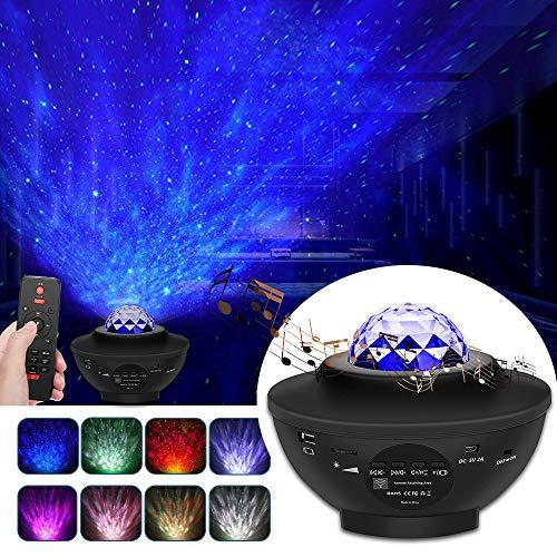 YSD Proyector de estrellas de luz nocturna, proyector de estrellas cielo con control remoto, proyector de estrellas ajustable con altavoz Bluetooth integrado, el mejor regalo para decoración de habitaciones de niños, proyecto de luz galáctica