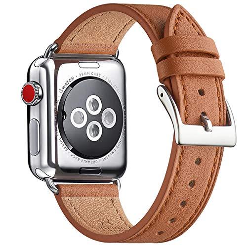 QAZNZ Correa de piel compatible con Apple Watch de 40 mm, 38 mm, 44 mm, 42 mm, correa de repuesto original compatible con iWatch Serie 6 5 4 3 2 1 & iWatch SE (38 mm, 40 mm, marrón/plateado)