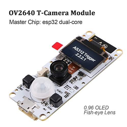 Innovateking-EU ESP32 Camera Module T-Camera Kamera modul ESP32 WROVER PSRAM 4MBytes SPRAM ESP32-WROVER-B OV2640 mit 0,96 Zoll OLED Fischaugen Objektiv für arduino
