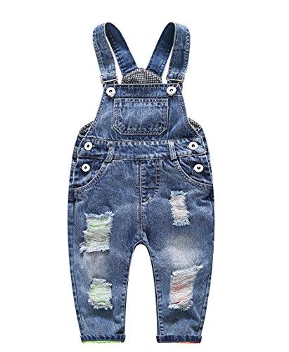 Jeans babados com buracos rasgados para bebês e meninos/meninas kidscool