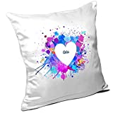 Kissen mit Namen Ada und schönem Motiv mit Wasserfarben-Herz zum Valentinstag - Namenskissen - Kuschelkissen - Schmusekissen