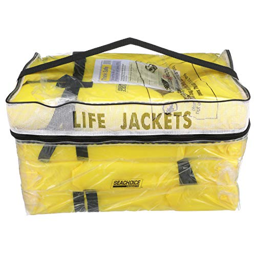 SEACHOICE 86010 Life Vest, Type II Personal Flotation Device – Yellow – Adult – 4-Pack with Bag