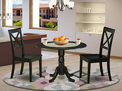 DLBO3-BLK-W 3Pc Round 42 Inch Dining Table With Two 9-Inch Drop Leaves And A Pair Of Wood Seat Dining Chairs