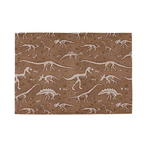 Plosds Kaffee Tischset Jurassic Dinosaur Bones Skeleton Antike Archäologie 12x18 Zoll Tischset Für Schreibtisch Set Von 6 Doppel Stoffdruck Baumwolle Leinen Für Küchentisch