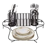 Besti Vintage Buffet Caddy (Black) Utensil, Napkin, and Dish Organizer Tray | Portable, Compact, Space-Saving Storage | Kitchen and Dining Room Use | Heavy-Duty Metal