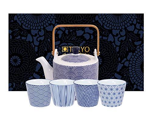 TOKYO design studio Nippon Blue theeset blauw-wit, 5-TLG, 1x theepot 0,8 l en 4x theekopjes 180 ml, Aziatisch porselein, Japans design, incl. geschenkverpakking