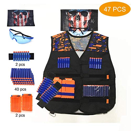 Astory Kids Tactical Vest, 47er Pack Tactical Vest Jacket Kit für Nerf Guns N-Strike Elite-Serie mit 40 Stück Nachfüllpfeilen, 2 Dart-Nachladeclips, 2 Armbändern, 1 Schutzbrille, 1 Schädelmaske