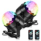 Party Lights Disco Light, Spriak Sound Activated Dj Stage Strobe Light, 7 Colors with Remote Control Disco Ball Lamps for Birthday Dance Home KTV Christmas Halloween Parties (2 Pack)