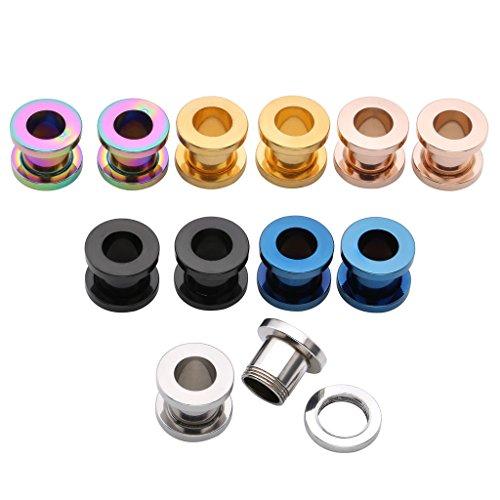 JSDDE Piercing Set,12er/6Parre Edelstahl Multi Farben Tunnel Schraub Flesh Ohrstecker Plug Expander Ohrpiercing Punk (8mm)