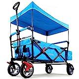 Fuxtec Faltbarer Bollerwagen FX-CT500 blau klappbar mit Dach