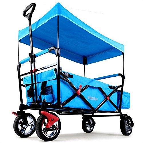 Fuxtec Faltbarer Bollerwagen FX-CT500 blau klappbar mit Dach, Vorderrad-Bremse, Vollgummi-Reifen, Hecktasche, für Kinder geeignet - Das Original mit GS-Prüfsiegel geprüfte Qualität !