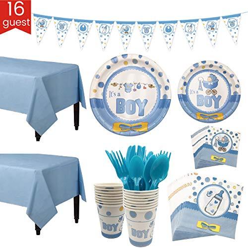 Jinxuny Baby Douche Party Tableware Banner Set Baby Reveal Party Supplies Kit 16 gasten Borden Bekers Tissue Tafelkleed Vork Lepel Blauw