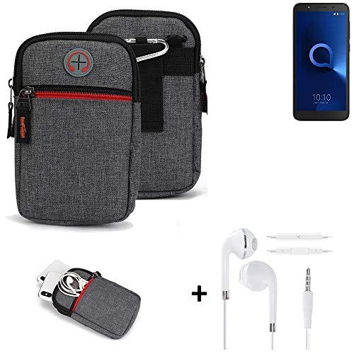 K-S-Trade® Gürtel-Tasche + Kopfhörer Für -Alcatel 1C Dual SIM- Handy-Tasche Schutz-hülle Grau Zusatzfächer 1x