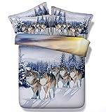 SQL 4Pcs material de fibra óptica ropa de cama 3D impresa nieve lobo Bedclothes Duvet edredón...