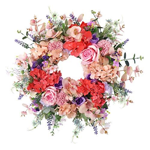 Guirnaldas de la flor de la primavera guirnaldas de guirnalda para decoración del hogar, artificial Rosa rosa hortensia Privalla Crown Crownhouse Agriturismo Diámetro de la puerta delantero Diámetro 6