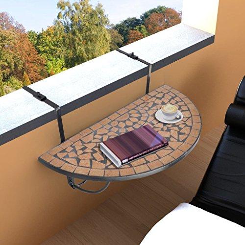 Tidyard Balcon Table Extérieure Suspendue Pont Pliant Table de Service Plateau de Mosaïque Table de Balcon Suspendue Demi-Circulaire Terre Cuite - Divers modèles au Choix