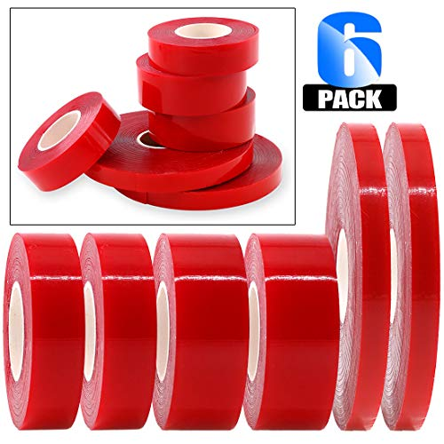 Glarks 6 Roll Acrylic Double Sided Weatherproof Heavy Duty Heat Resistant High Adhesion Tape Roll, Clear Sticker for Industry, Auto and House Dcor-32.8ft x 0.39inch, 9.8ft x 0.59inch, 9.8ft x 0.78inch