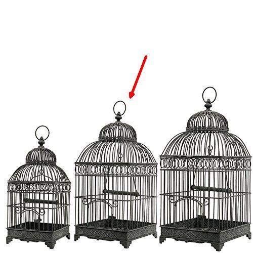 L'ORIGINALE DECO Cage à Oiseaux Carré Gris 48 cm x 21 cm x 21 cm