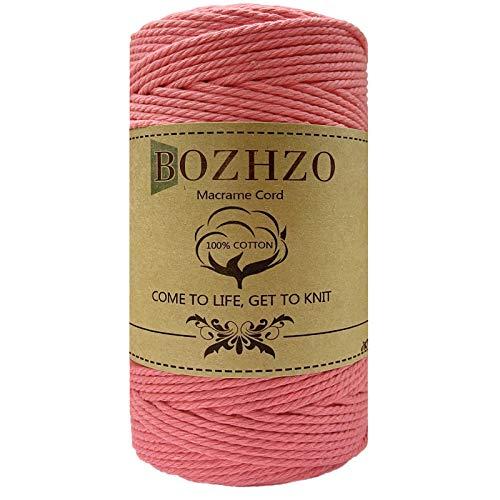 BOZHZO Makramee Garn, 2mm x 200m Kordel, Baumwollgarn Baumwollkordel 100% Naturliches Baumwolle Super für Anfänger, Gartenarbeit, Kochen, Basteln und Mehr DIY Dekoration (Rosa)