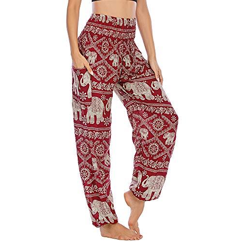 Nuofengkudu Mujer Hippie Tailandeses Pantalon Harem Cintura Alta Boho Vintage Patrones Indio Baggy Fisherman Yoga Pants Pijama Verano Playa(W-Rojo Elefante,Talla única)