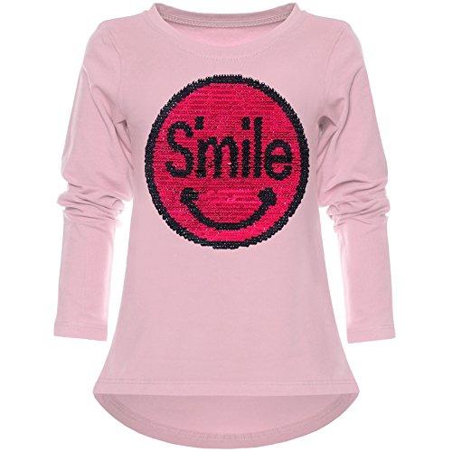 Kinder Mädchen Langarmshirt Wende-Pailletten Long Shirt Lächeln Motiv 21726 Rosa Größe 152