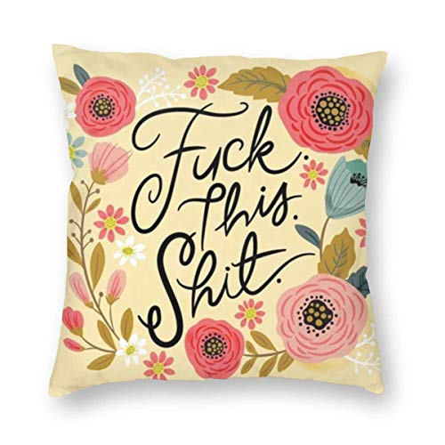 Harla Pretty Sweary Fuck This Shit In Yellow Velvet Soft Decorative Square Throw Pillow Case Cushion Cover Pillowcase for Livingroom Sofa Bedroom with Invisible Zipper 20x20 Inches
