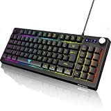 BENGOO Gaming Keyboard, RGB LED Rainbow Backlit Small Gaming Keyboard with 89 Keys and Multimedia Shortcus, Mechanical Feeling Keyboard Wired with 25 Anti-ghosting Keys for Windows Gaming PC Laptop
