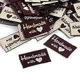 200 etiquetas de tela hechas a mano con amor, etiquetas textiles hechas a mano con amor, etiquetas tejidas, accesorios para ropa