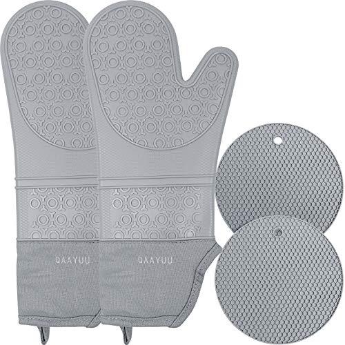 QAAYUU Juego de manoplas de horno y soportes para ollas, impermeables, antideslizantes, resistentes al calor, para cocina, hornear, forro acolchado, 4 unidades, color gris