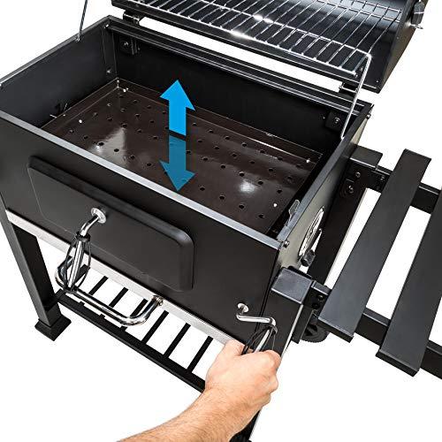 TecTake Barbecue à charbon 3 en 1 avec thermomètre Charbon de bois   No. 402174 Noir