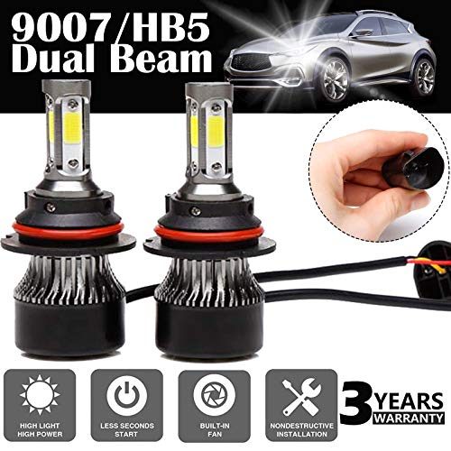 9007/HB5 LED Headlight Bulbs Conversion Kit Dual Beam, 2PCS 4-side of LED Advanced COB Chips IP68 Waterproof 240W 24000LM 6000K Super Bright Cool White, 3-YEAR WARRANTY