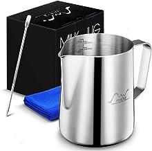 ابريق تسخين قهوة بالبخار بتصميم كوب لصنع رغوة للقهوة والحليب مع قلم باريستا للكابتشينو واللاتيه ومنشفة قماشية سعة 600 مل