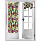 Cortinas para puerta, diseño de mosaico con líneas y elementos dibujados a mano con formas trapezoidales, 1 panel de 66 x 172 cm, aislamiento térmico para ventana, multicolor