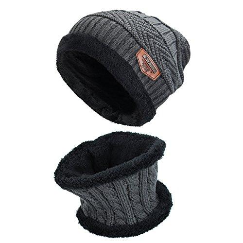 Hut Schal Set dicken Strickmütze warmen Fleece gefüttert Schal warme Wintermütze für Männer und Frauen (Grau)