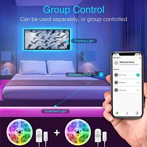 NiteBird Smart Led Strip Lights, 9.2Ft TV Backlight Works with Alexa Google Home,RGB Led Light Kit for 32 to 60 Inch TV, Sync with Music, Waterproof 5050 Smart Led TV Backlights with Controller